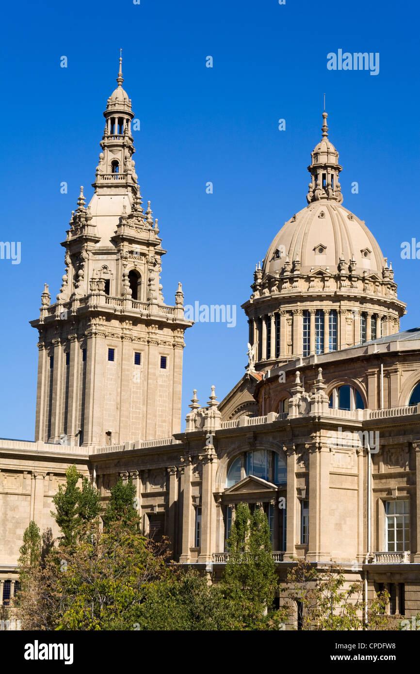 Museu Nacional D'Art de Catalunya in the Montjuic District, Barcelona, Catalonia, Spain, Europe - Stock Image