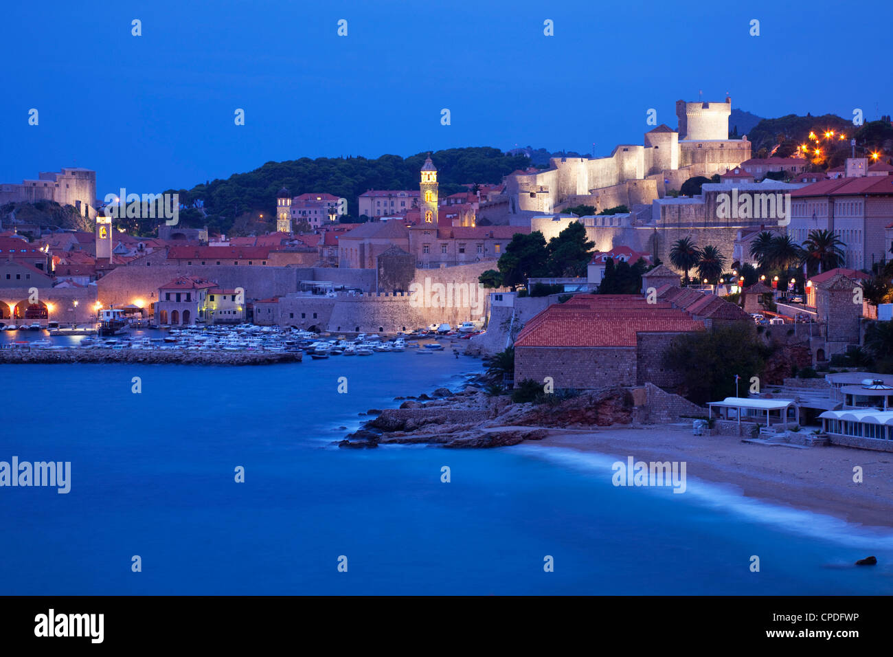 View of Old Town in the early morning, UNESCO World Heritage Site, Dubrovnik, Croatia, Europe Stock Photo