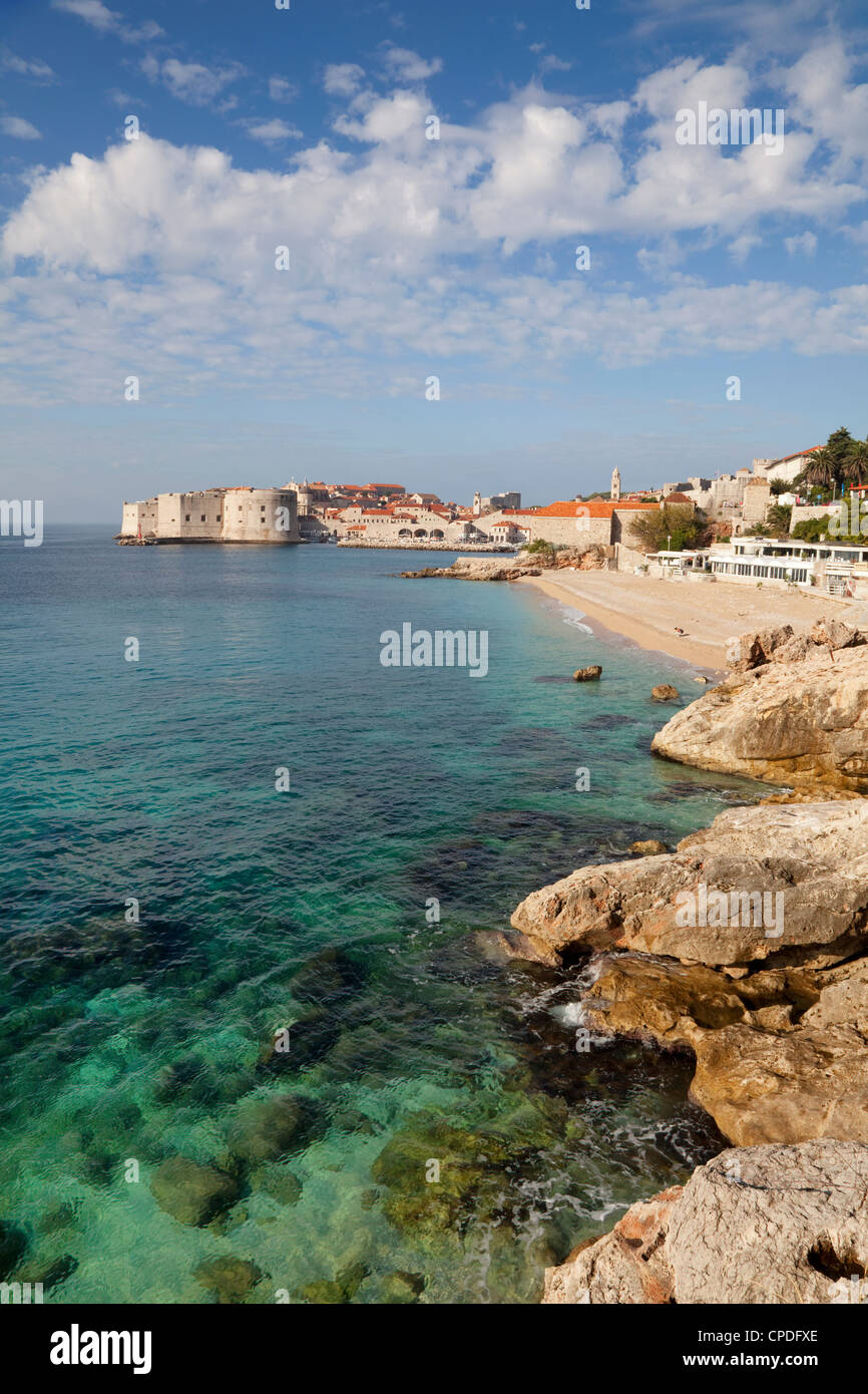 Old Town and rocky shoreline, Dubrovnik, Croatia, Europe - Stock Image