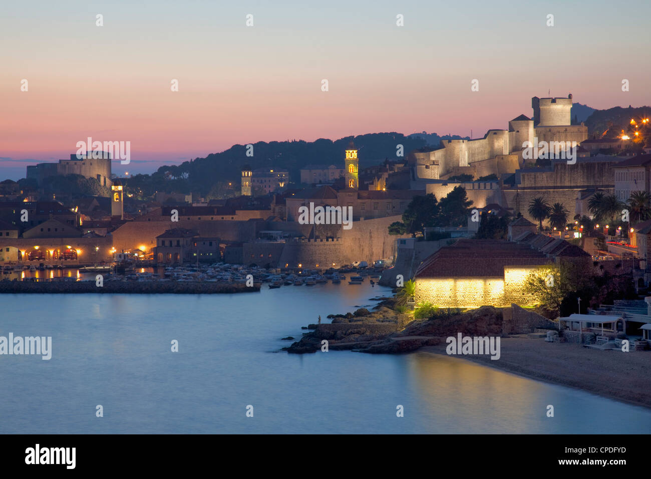 View of Old Town in the early evening, UNESCO World Heritage Site, Dubrovnik, Croatia, Europe Stock Photo