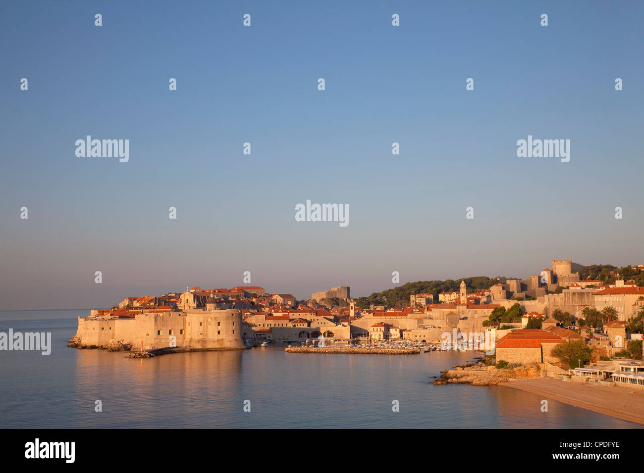 View of Old Town in the early evening, UNESCO World Heritage Site, Dubrovnik, Croatia, Europe - Stock Image