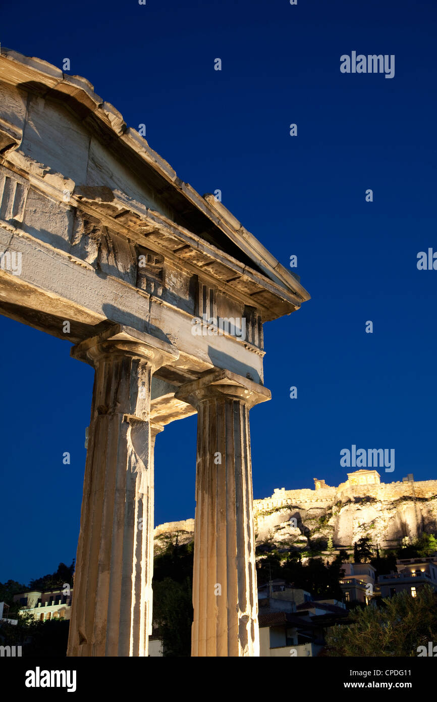 Gate of Athena Archegetis and the Acropolis at night, UNESCO World Heritage Site, Athens, Greece, Europe - Stock Image