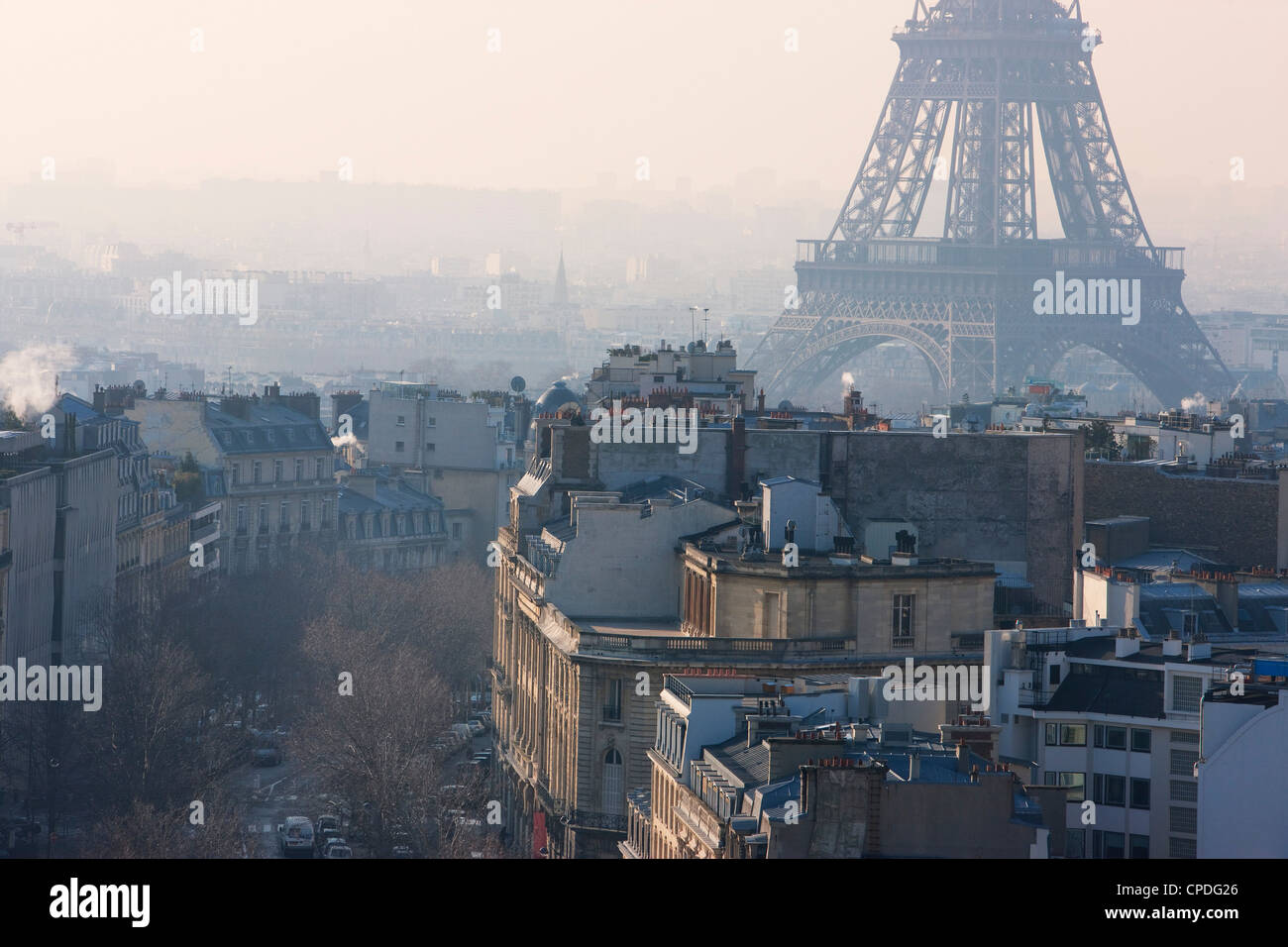 The Eiffel Tower from the Arc de Triomphe, Paris, France, Europe - Stock Image