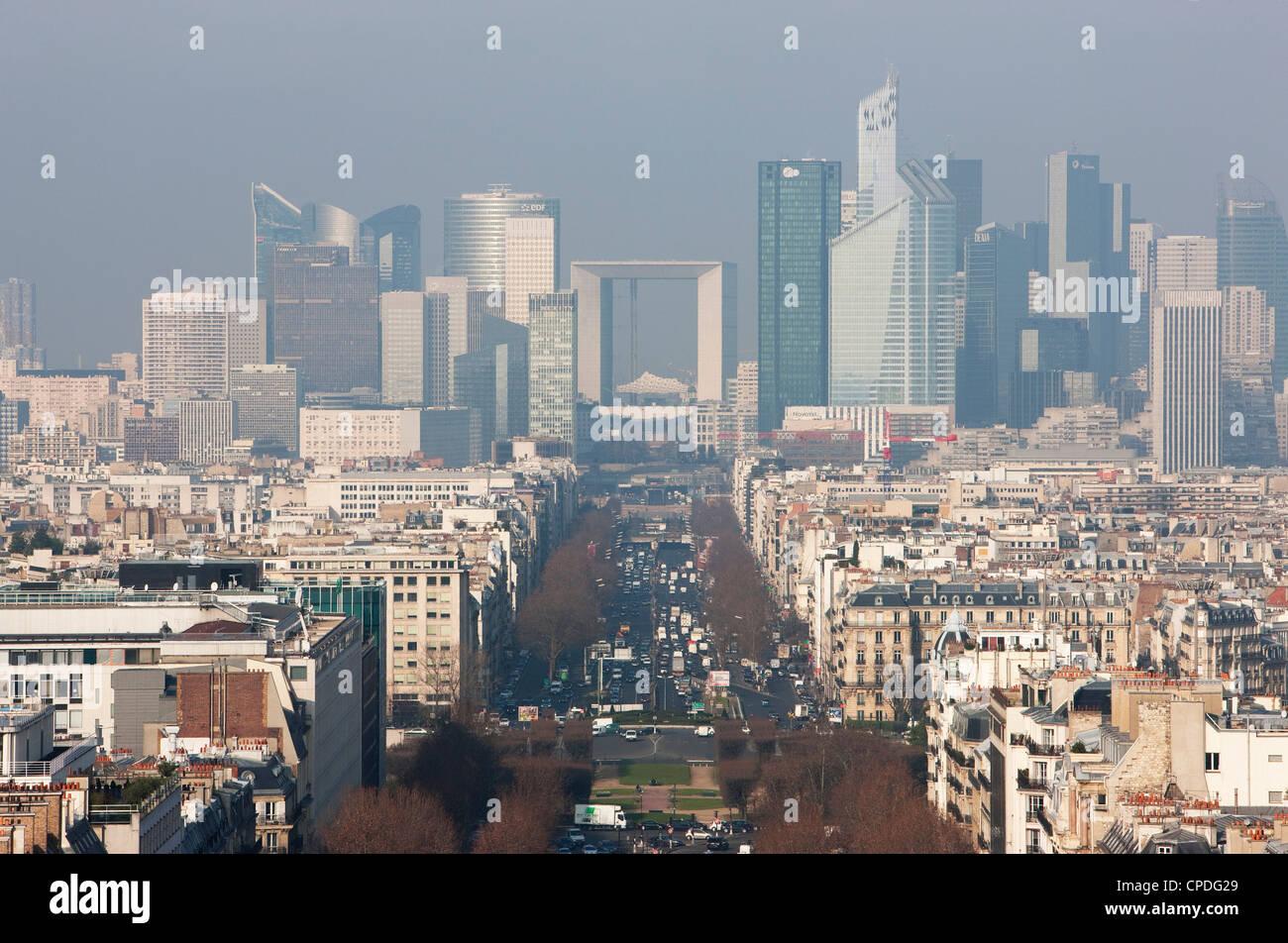La Defense from the Arc de Triomphe, Paris, France, Europe Stock Photo