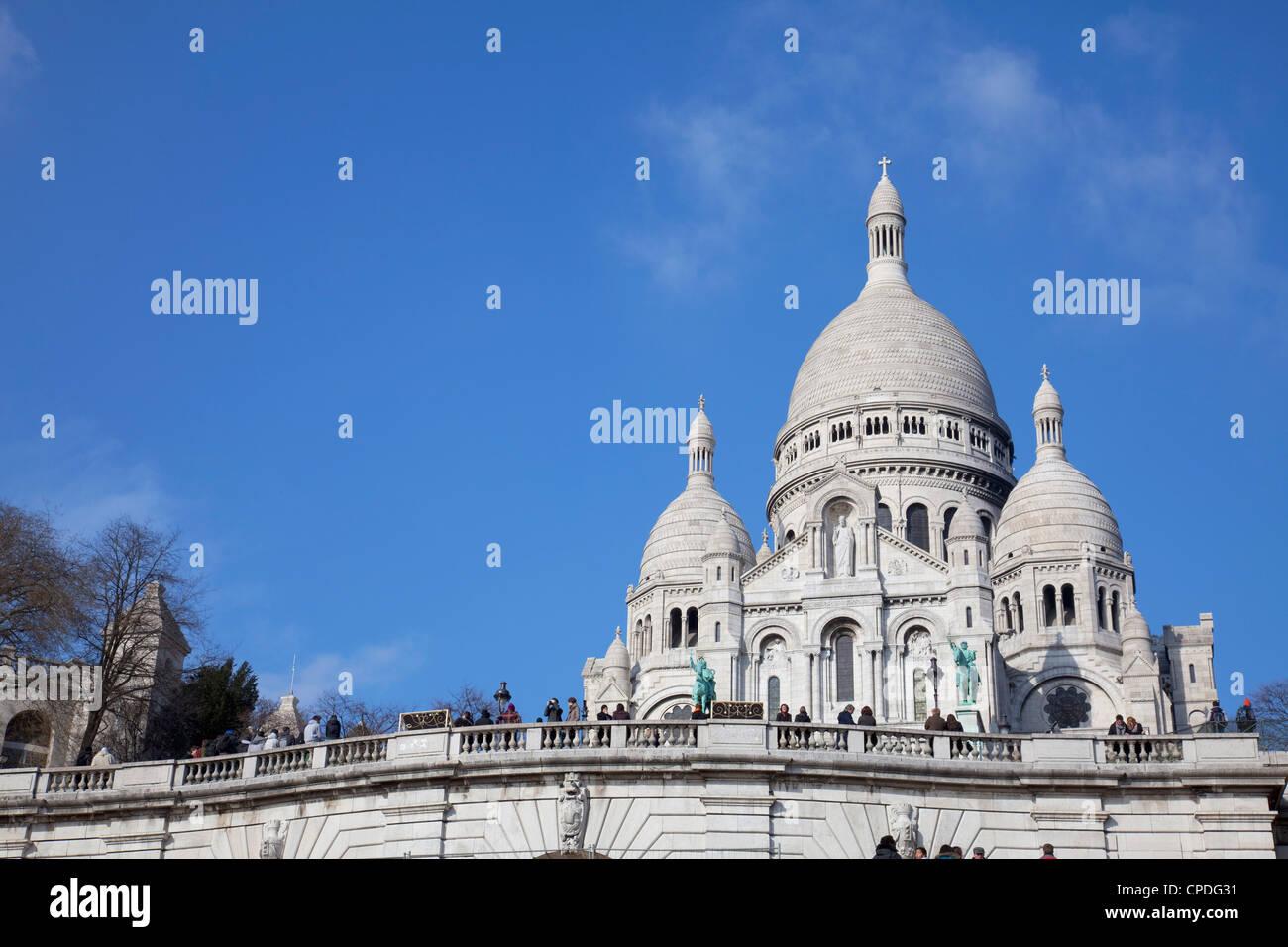 Sacre Coeur Basilica, Montmartre, Paris, France, Europe - Stock Image