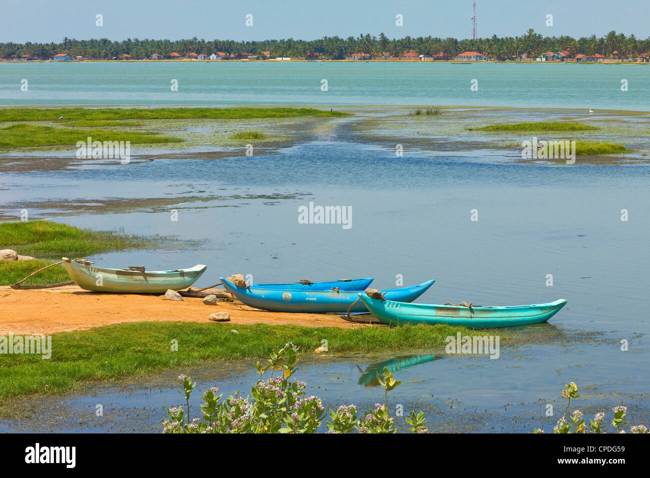 Canoes by Arugam Lagoon, known for its wildlife, Pottuvil, Arugam Bay, Eastern Province, Sri Lanka, Asia - Stock Image