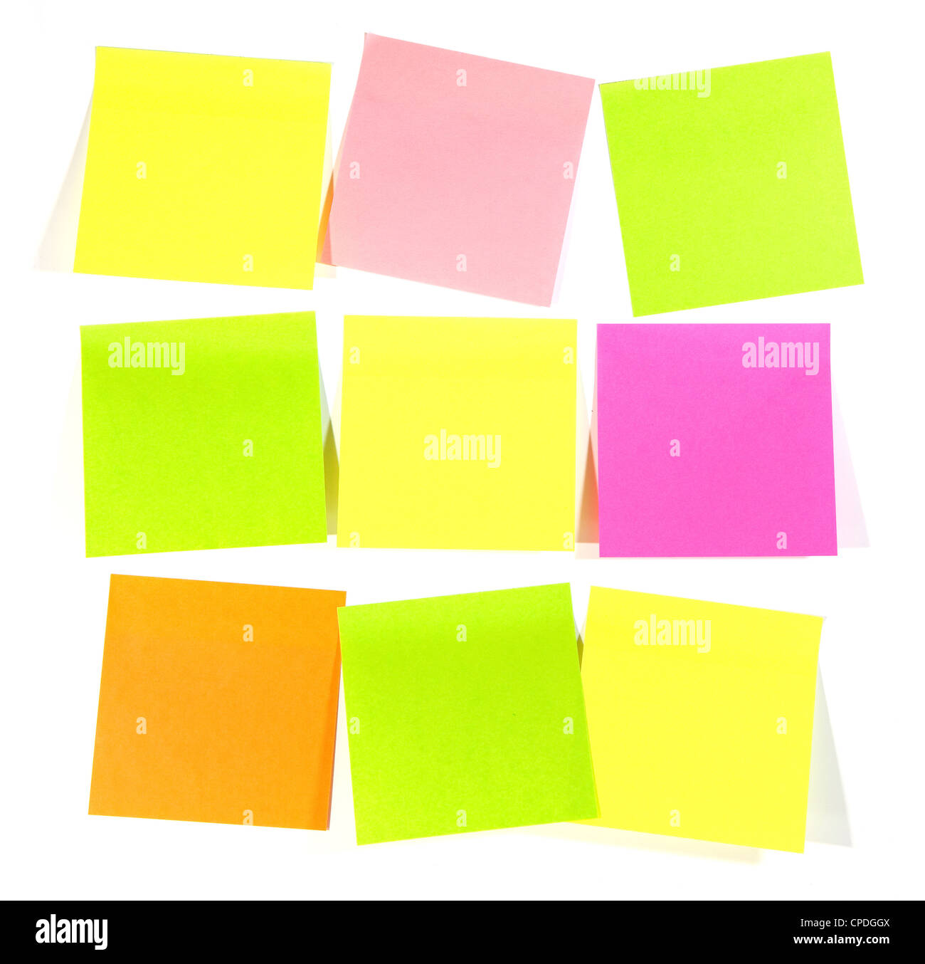 Postit for reminder note on the white background - Stock Image
