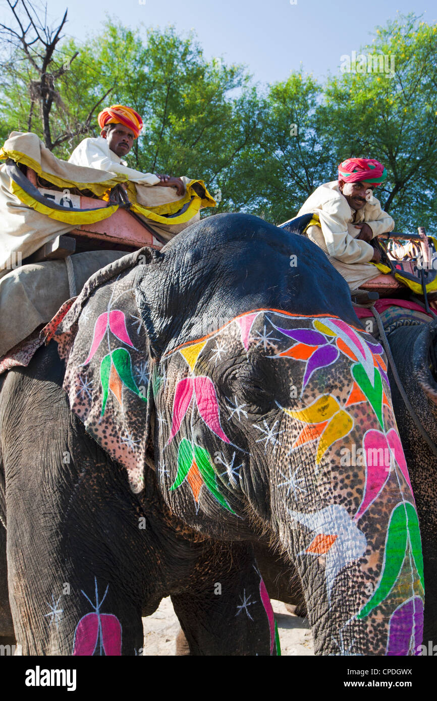 Ceremonial painted elephant at Amber Fort near Jaipur, Rajasthan, India, Asia - Stock Image