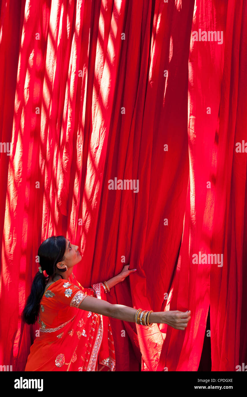 Woman in sari checking the quality of freshly dyed fabric hanging to dry, Sari garment factory, Rajasthan, India, - Stock Image