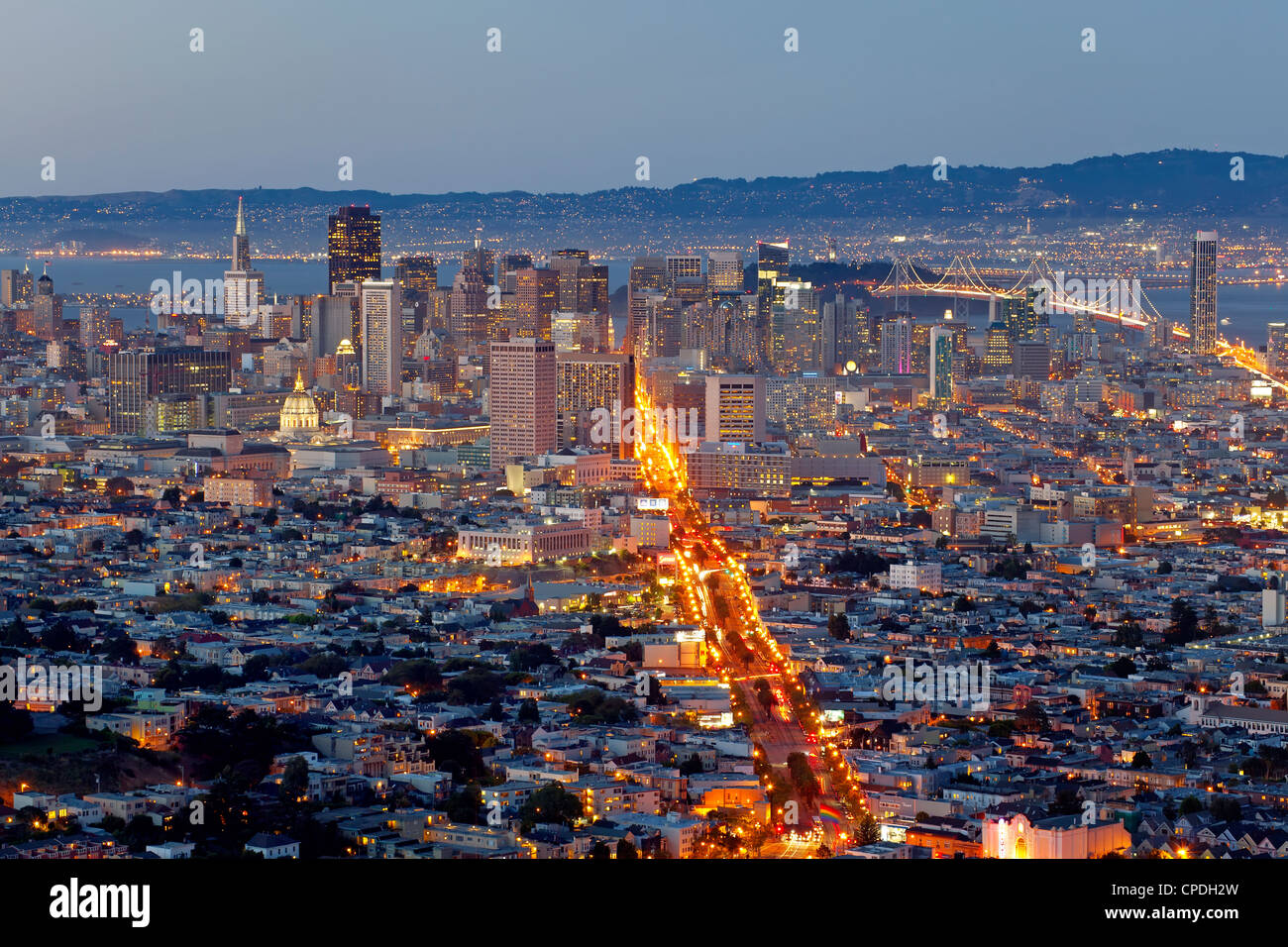 City skyline viewed from Twin Peaks, San Francisco, California, United States of America, North America - Stock Image