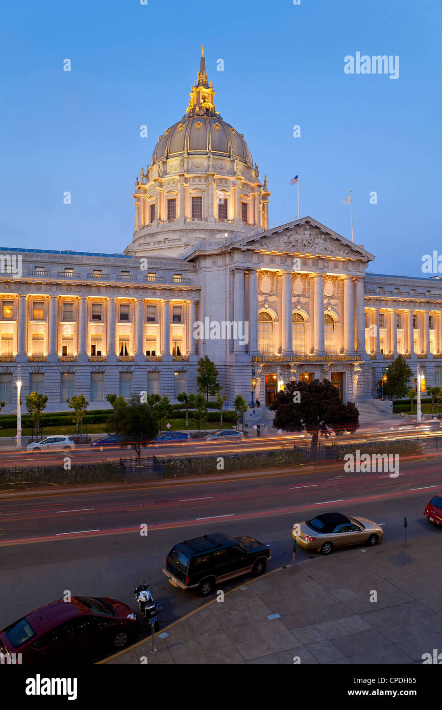 City Hall, Civic Center Plaza, San Francisco, California, United States of America, North America - Stock Image