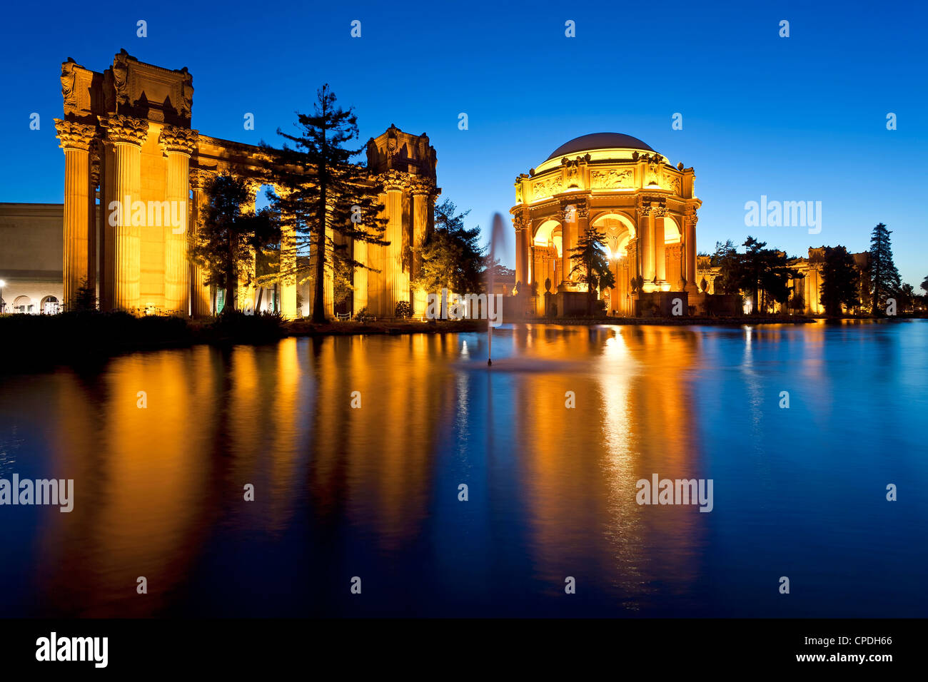 Palace of Fine Arts illuminated at night, San Francisco, California, United States of America, North America - Stock Image