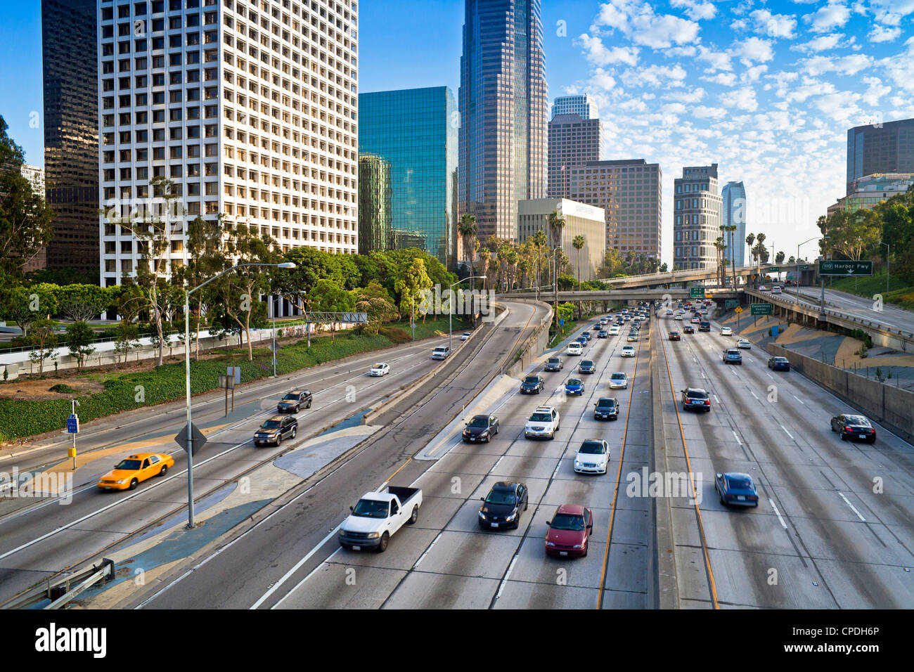 The 110 Harbour Freeway and Downtown Los Angeles skyline, California, United States of America, North America - Stock Image