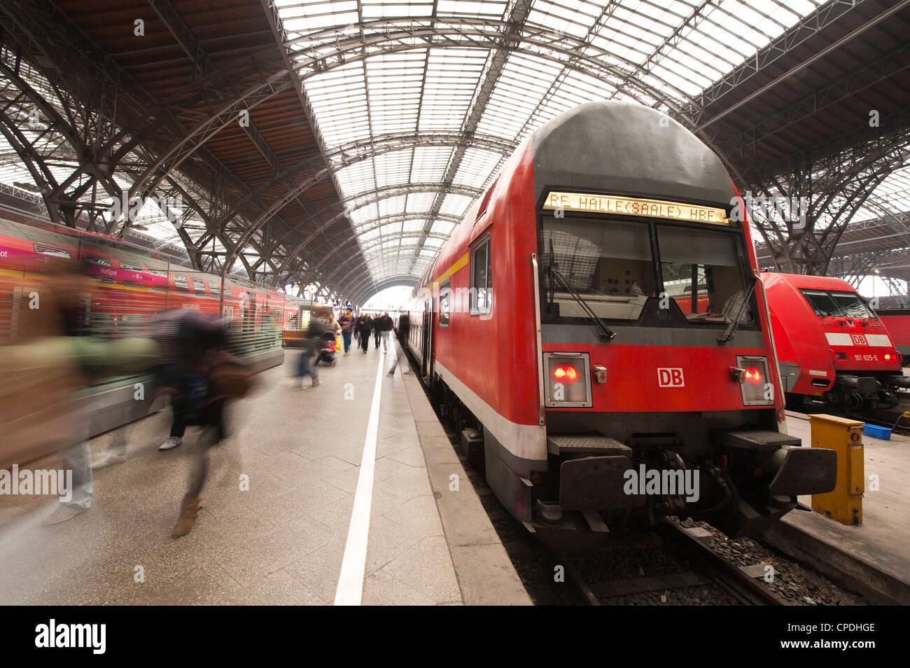 Railway Station, Leipzig, Saxony, Germany, Europe - Stock Image
