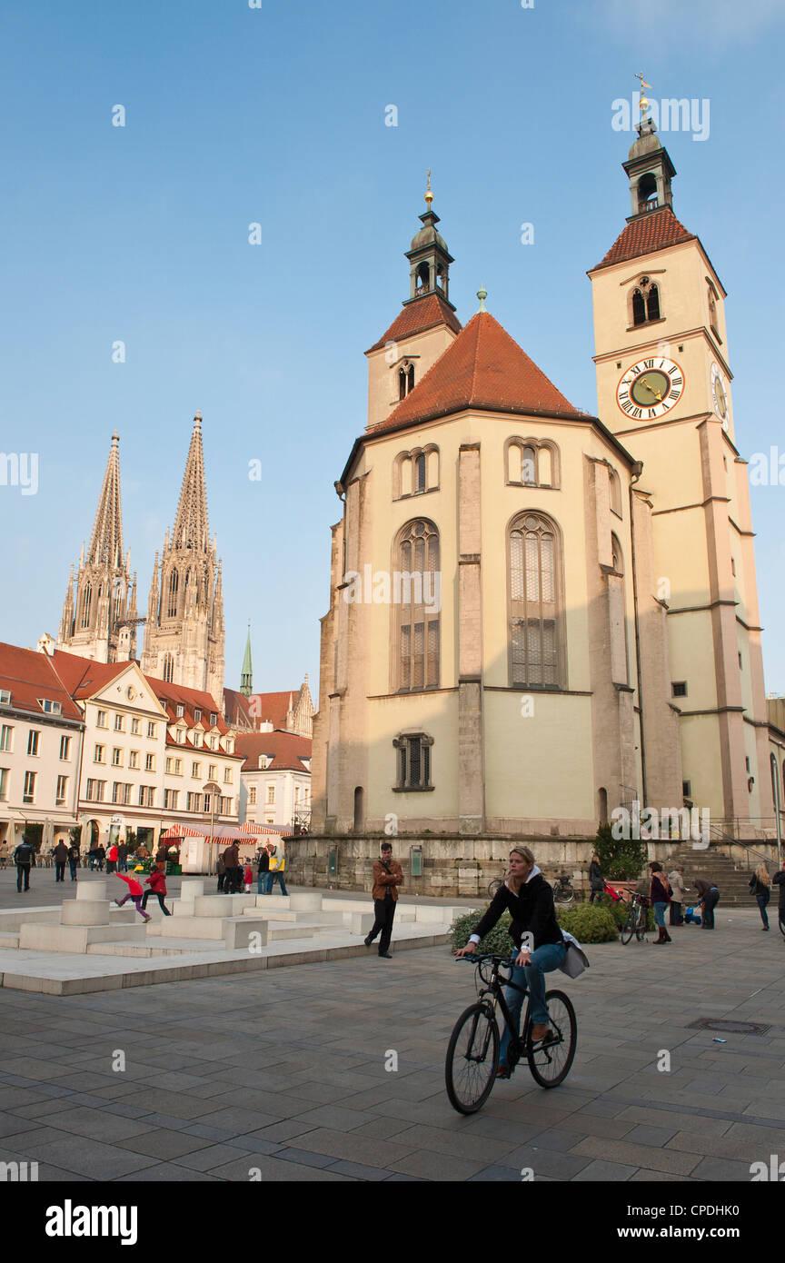 The Neupfarrkirche Protestant Church, Regensburg, Bavaria, Germany, Europe - Stock Image