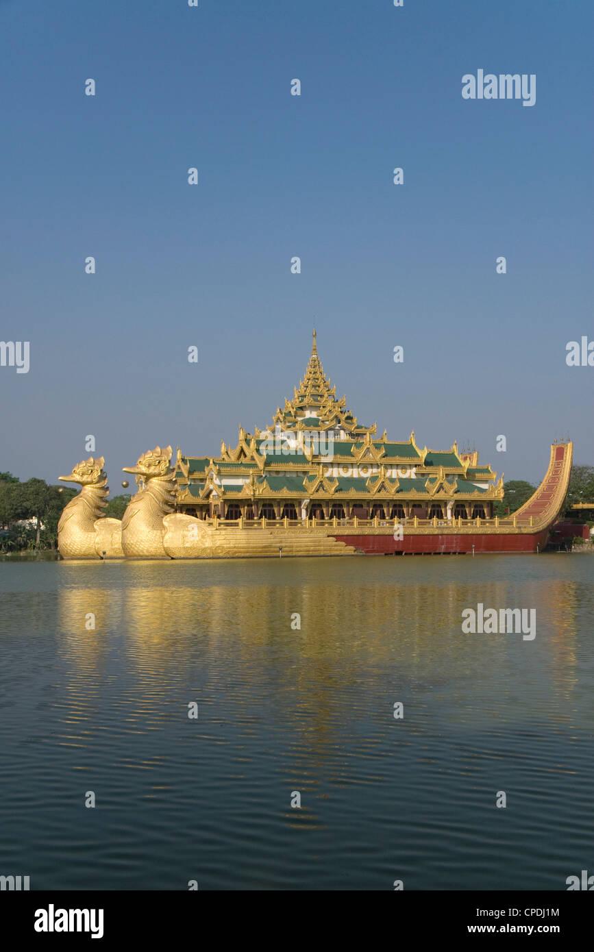 Karaweik Barge, Kandawgyi Lake, Yangon (Rangoon), Myanmar (Burma), Asia Stock Photo