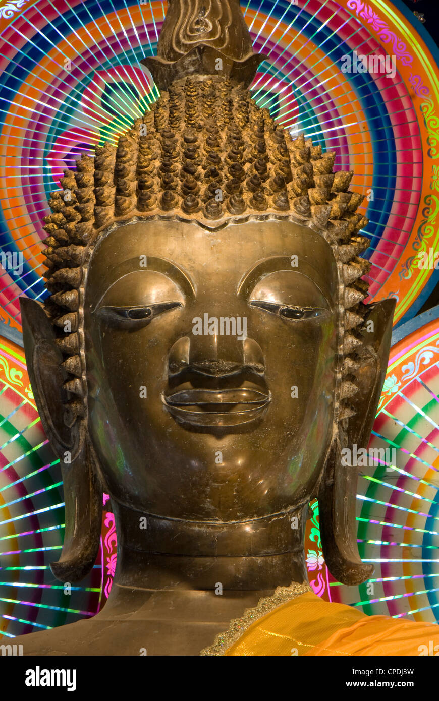 Head of a statue of the Buddha, Wat Ong Teu, Vientiane, Laos, Indochina, Southeast Asia, Asia Stock Photo