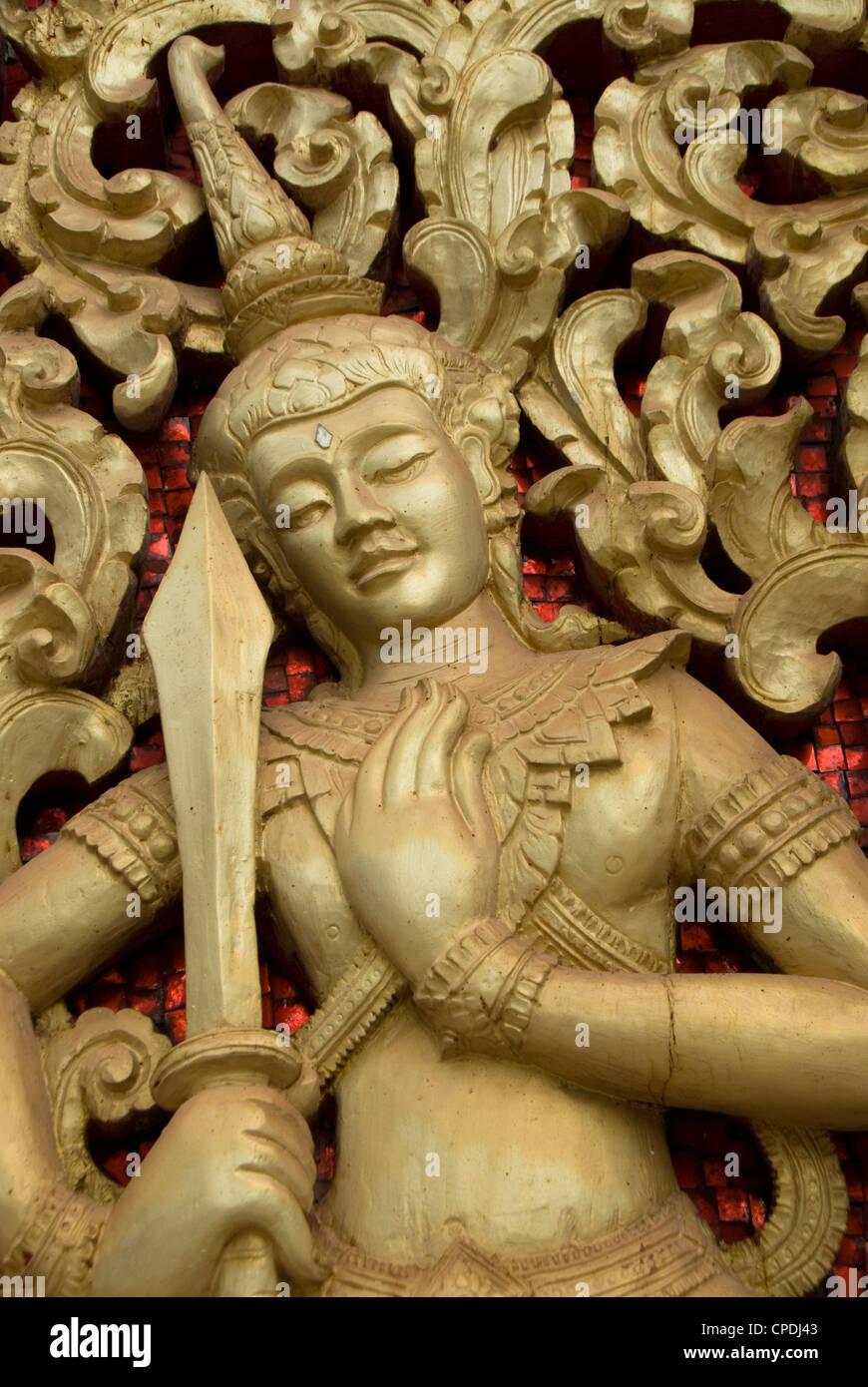 Decorative door, Wat Hai Sok, Vientiane, Laos, Indochina, Southeast Asia, Asia - Stock Image