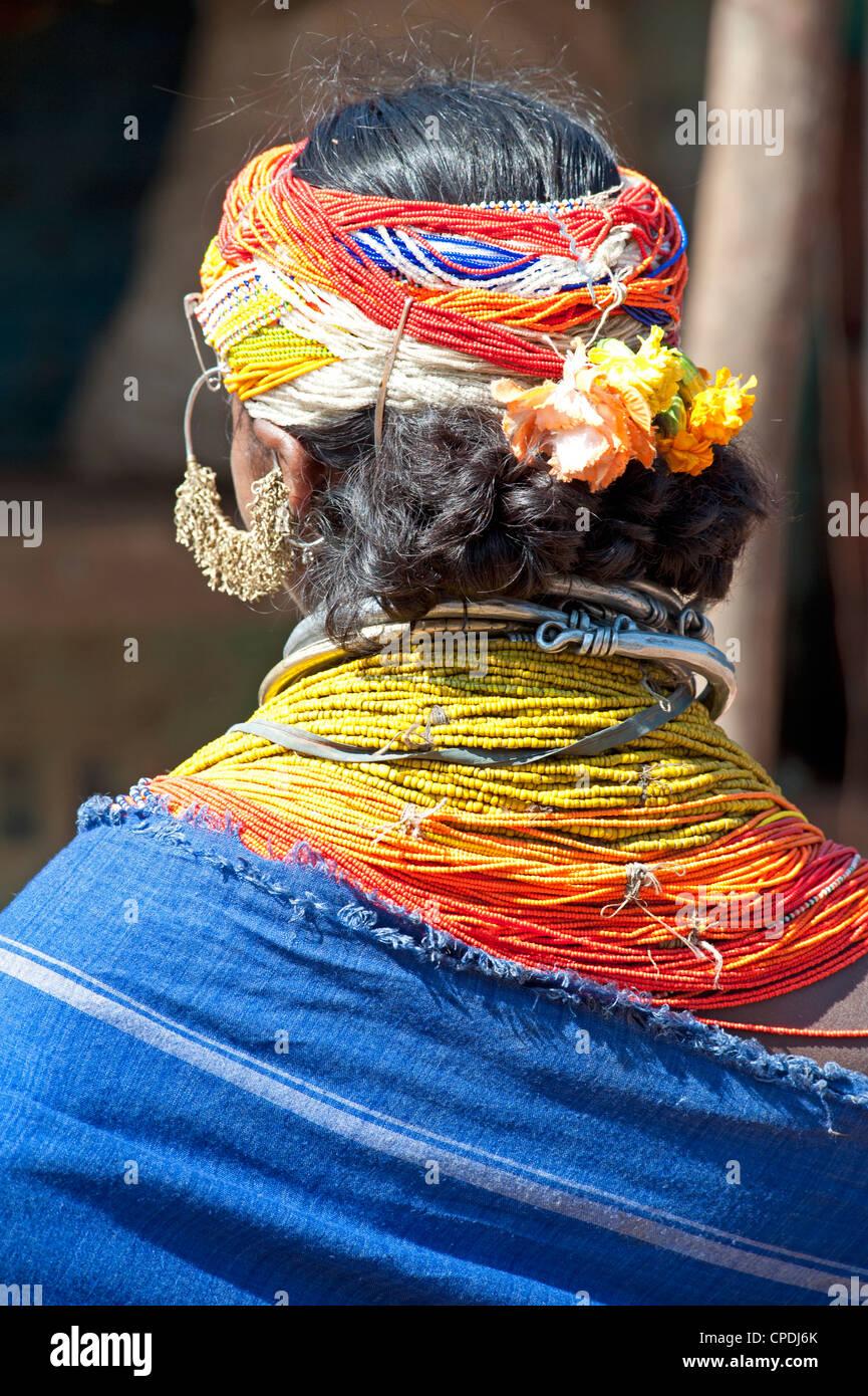 Bonda tribeswoman wearing blue cotton shawl, Rayagader, Orissa, India - Stock Image