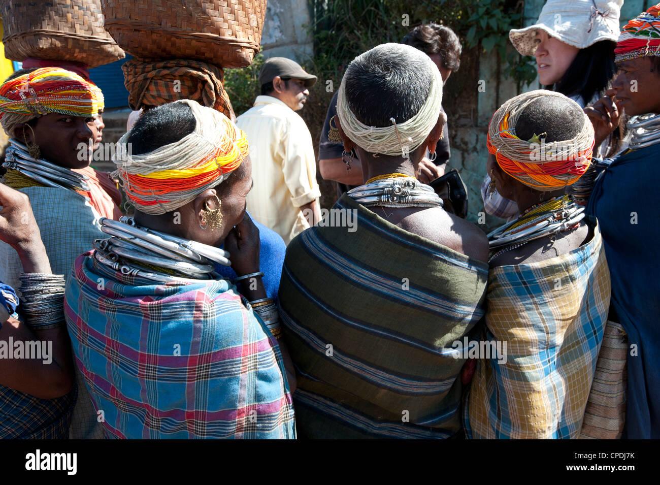 Bonda tribeswomen wearing traditional beaded caps, Rayagader, Orissa, India - Stock Image