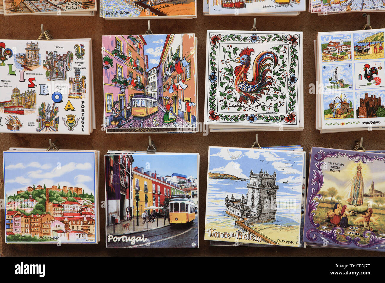 Souvenir tiles in shop display, Lisbon, Portugal, Europe - Stock Image