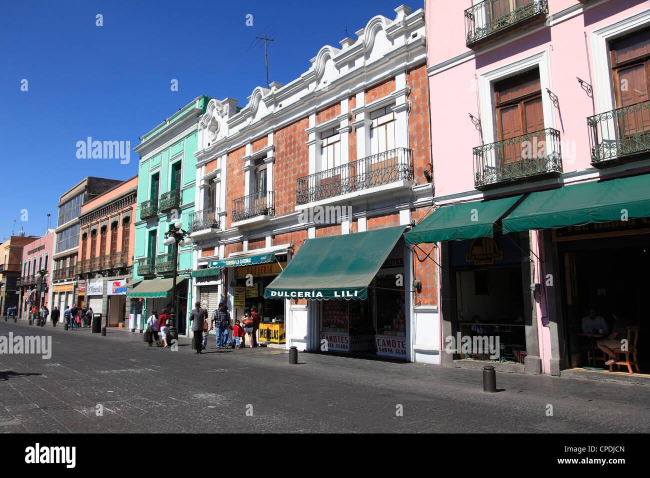 Street scene, Puebla, Historic Center, Puebla State, Mexico, North America - Stock Image