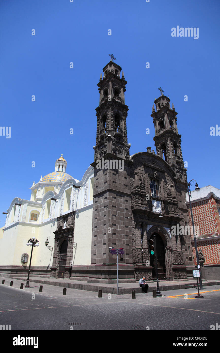 Iglesia de San Cristobal (Templo de San Cristobal), Puebla, Historic Center, Puebla State, Mexico, North America - Stock Image