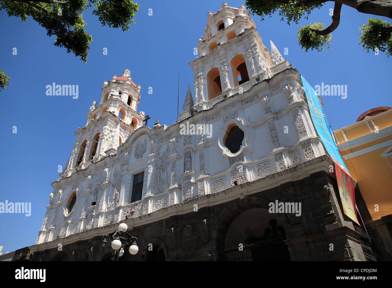 Iglesia La Compania de Jesus church (Templo del Espiritu Santo), Puebla, Historic Center, Puebla State, Mexico, - Stock Image