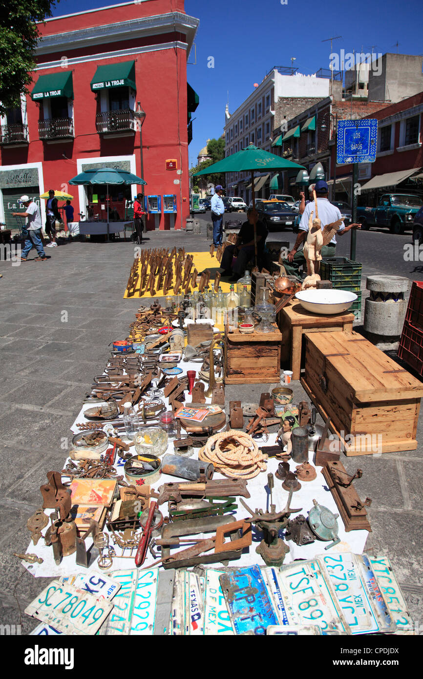 Los Sapos antiques and flea market, Puebla, Historic Center, UNESCO World Heritage Site, Puebla State, Mexico, North - Stock Image