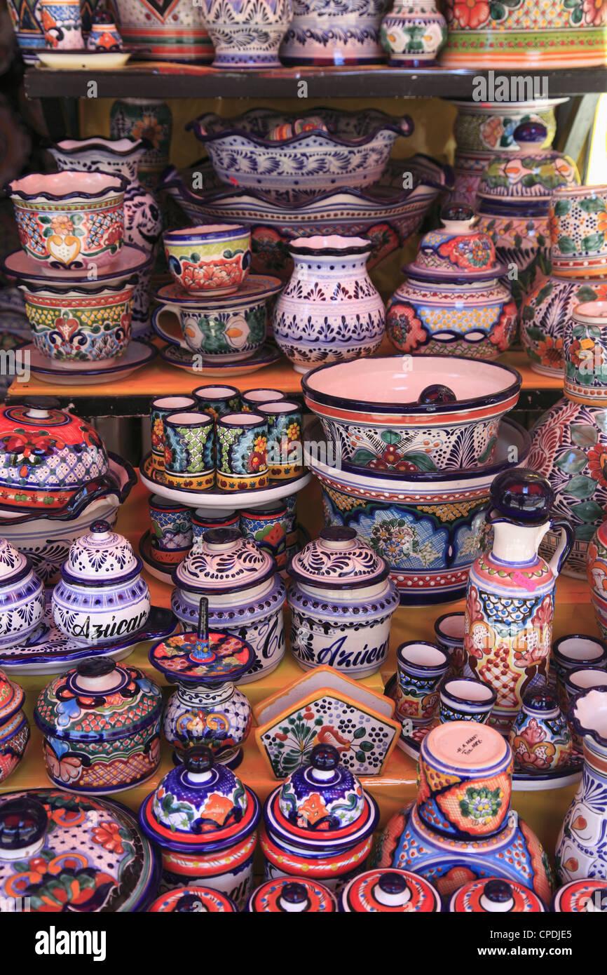 Talavera Pottery, El Parian Market, Puebla, Historic Center, Puebla State, Mexico, North America - Stock Image