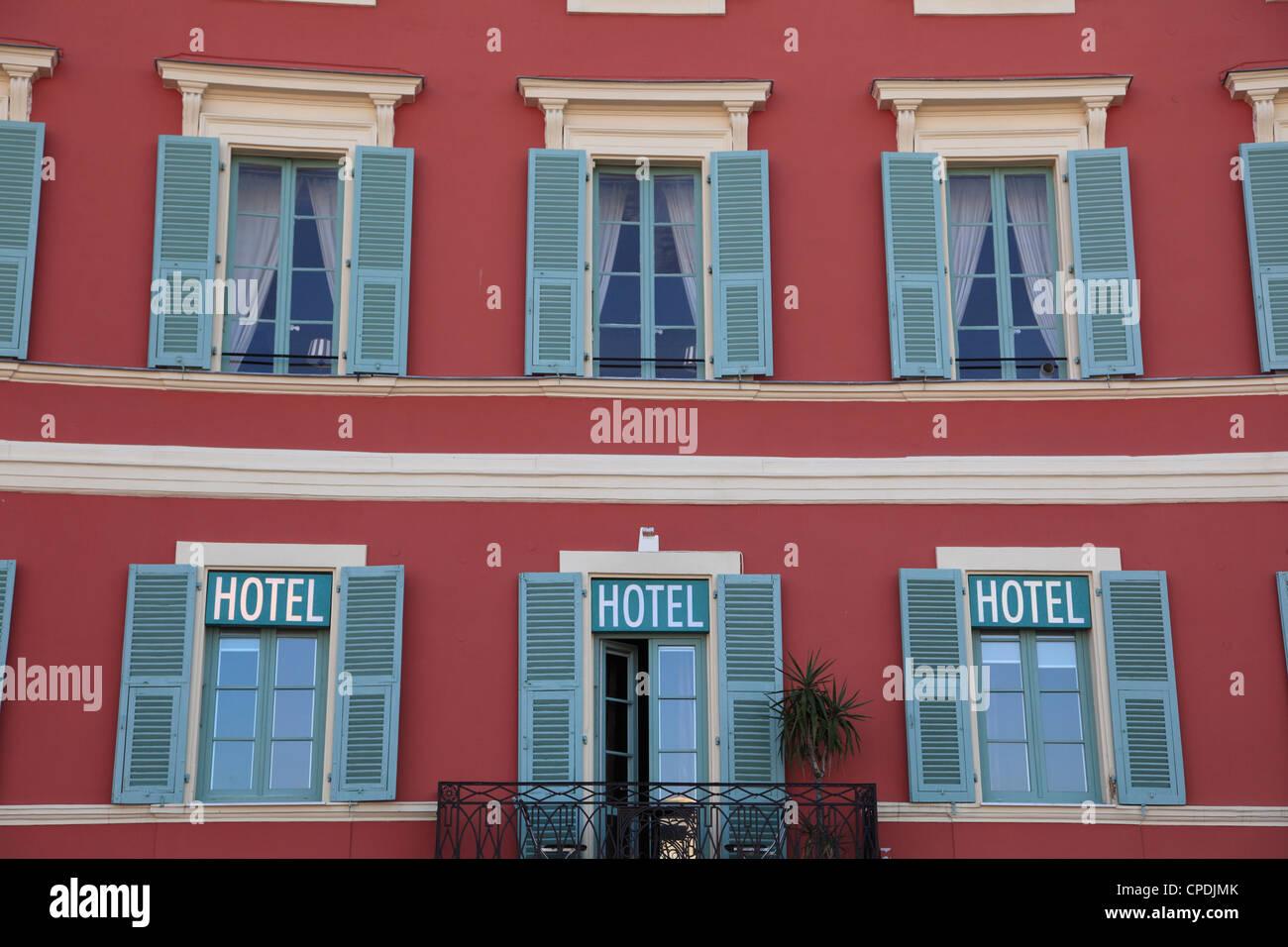 Hotel, Place Massena, Nice, Alpes Maritimes, Cote d'Azur, French Riviera, Provence, France, Europe - Stock Image