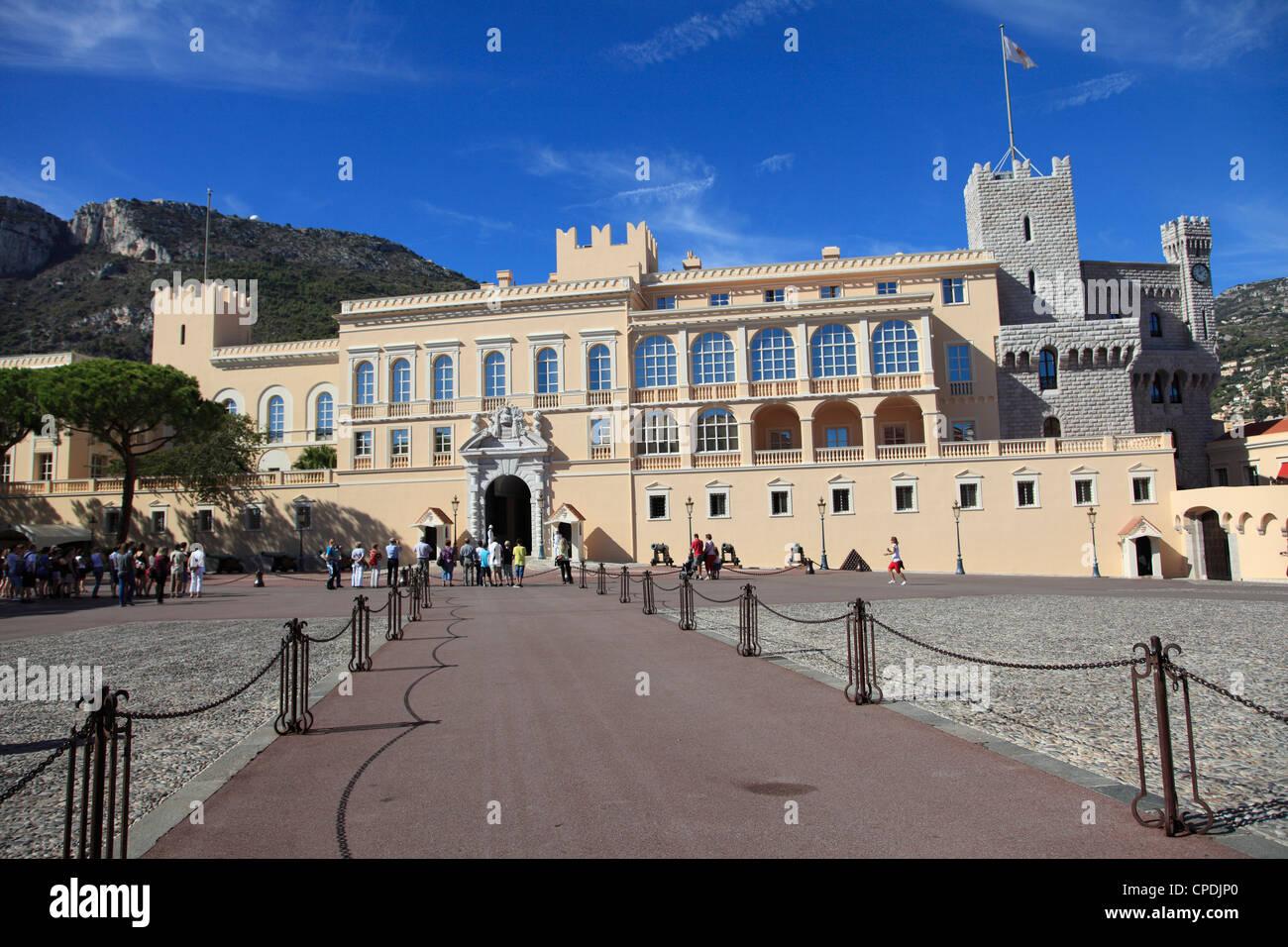 Princes of Grimaldi Palace, Royal Palace, Monaco, Cote d'Azur, Mediterranean, Europe - Stock Image