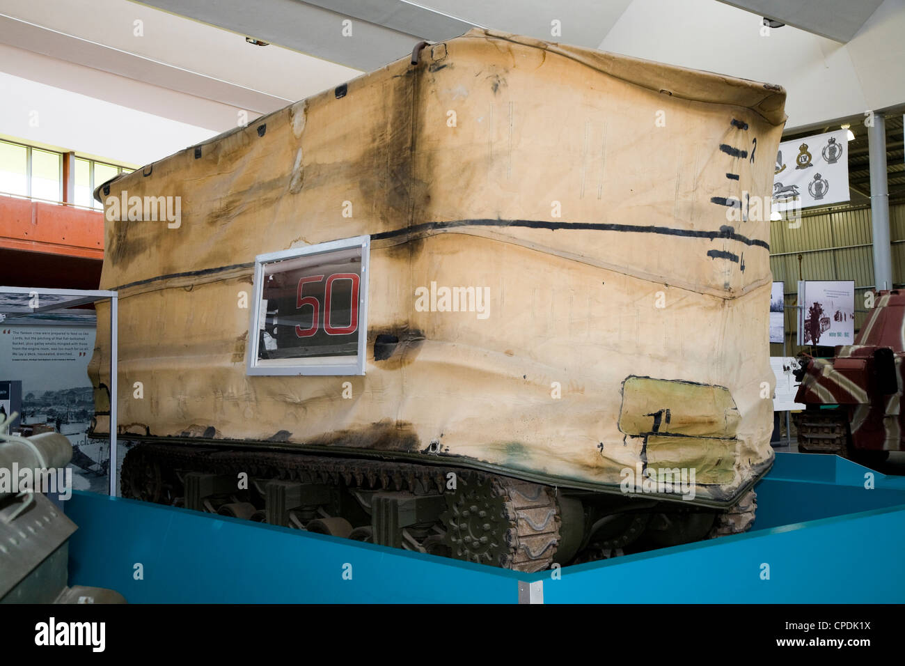 DD tanks (the DD standing for Duplex Drive) amphibious swimming tank exhibit / display. The Tank Museum, Bovington, - Stock Image