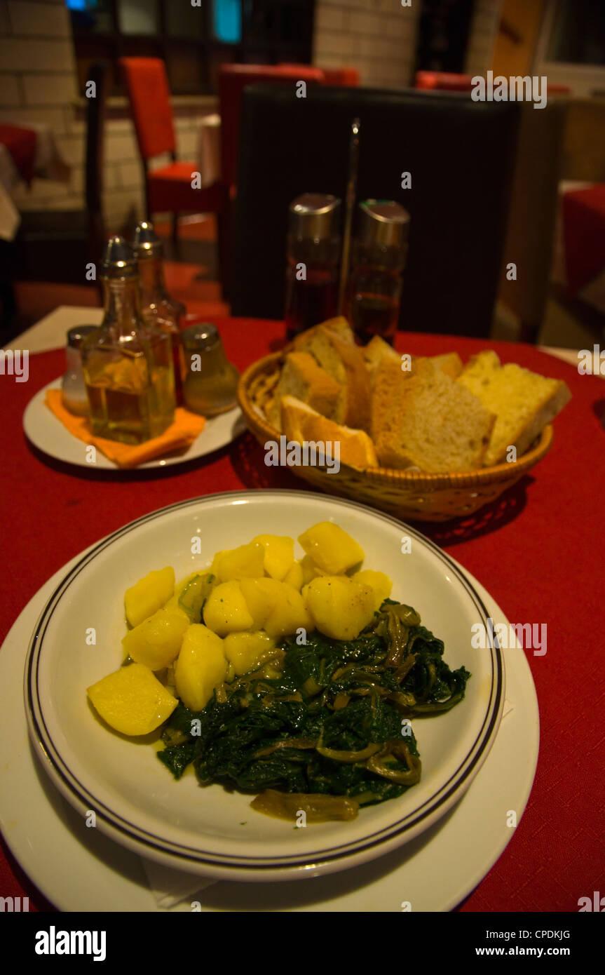 Chard aka silverbeet with potatoes local vegetarian dish in restaurant in Lapad district Dubrovnik city Dalmatia - Stock Image