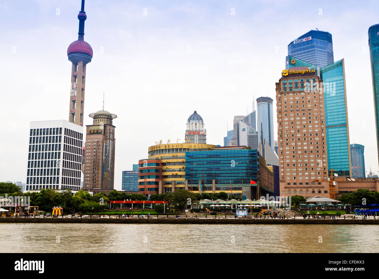 Pudong skyline across the Huangpu River, Oriental Pearl tower on left, Shanghai, China, Asia - Stock Image