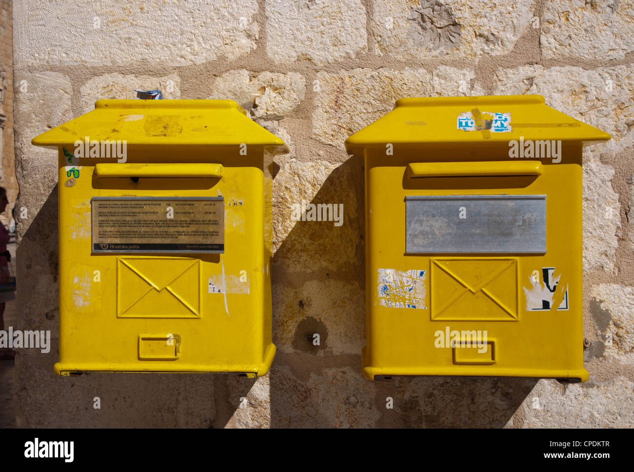 Mailboxes along Stradun main street Grad the old town Dubrovnik city Dalmatia Croatia Europe - Stock Image