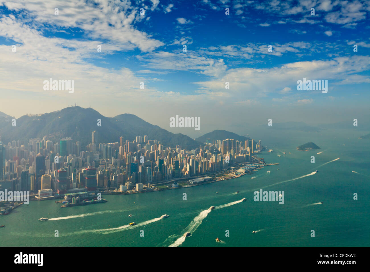 High view of the Hong Kong Island skyline and Victoria harbour, Hong Kong, China, Asia - Stock Image