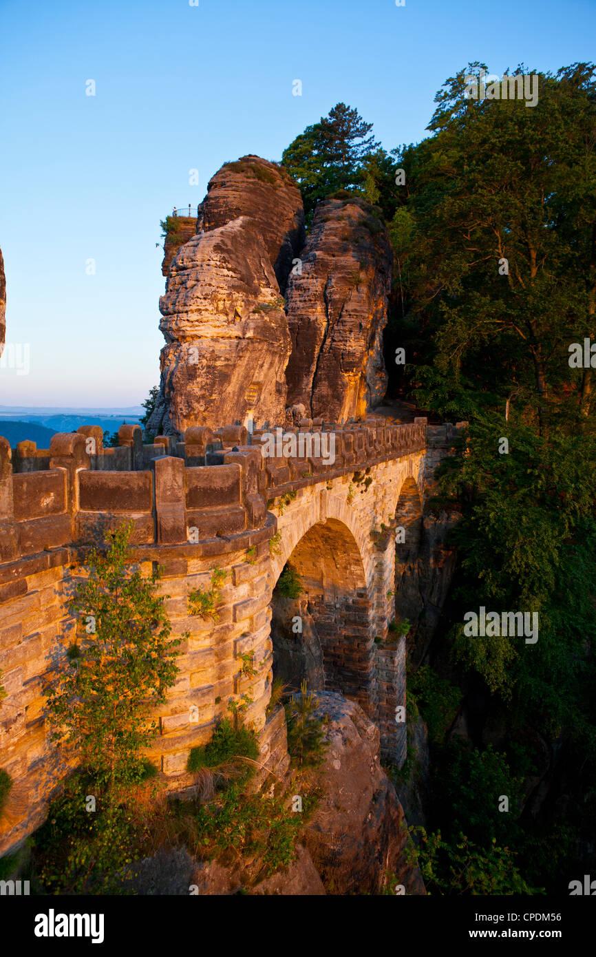 The Bastei, Saxon Switzerland, Saxony, Germany, Europe - Stock Image