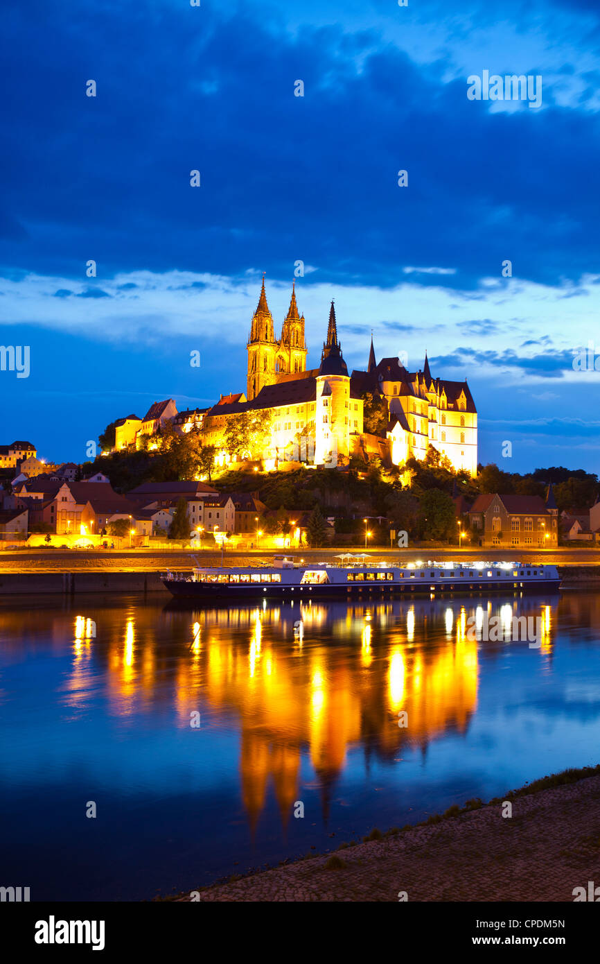 Castle of Meissen at night above the River Elbe, Saxony, Germany, Europe - Stock Image