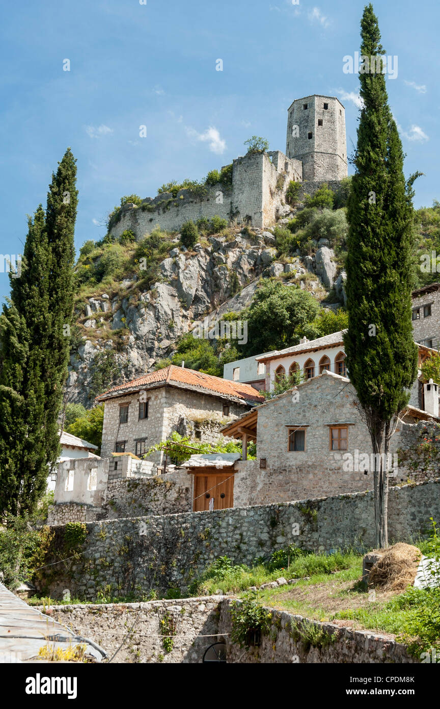 The Citadel overlooking the town of Pocitelj, Bosnia Herzegovina, Europe - Stock Image