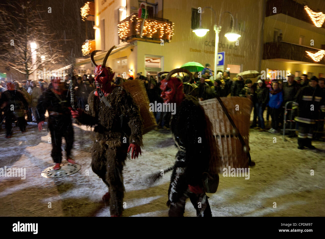 Krampus is a mythical creature recognized in Alpine countries, Campo Tures, South Tyrol, Bolzano, Italy, Europe - Stock Image