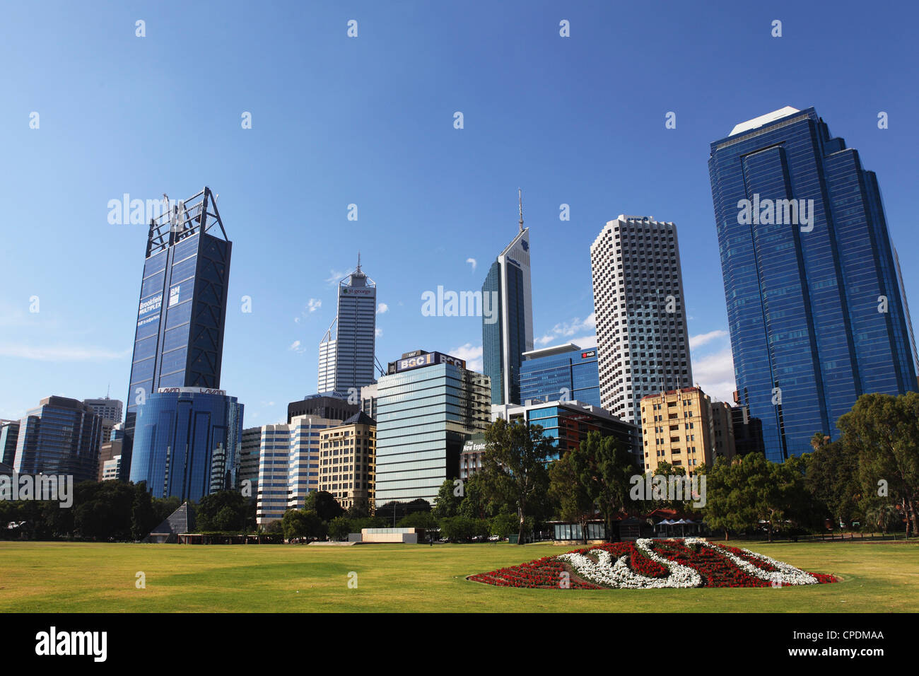 Skyscrapers of the Central Business District (CBD) tower over the Esplanade at Perth, Western Australia, Australia, - Stock Image