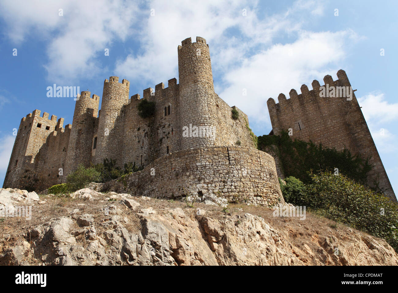 Obidos castle, a medieval forstress, today used as a luxury Pousada hotel, in Obidos, Estremadura, Portugal, Europe - Stock Image
