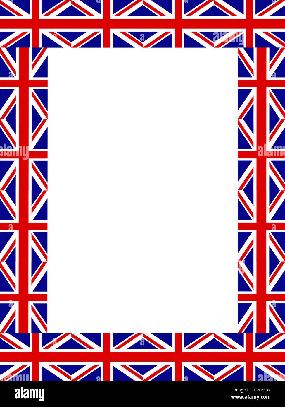 Union Jack flag frame pattern on white background Stock Photo ...