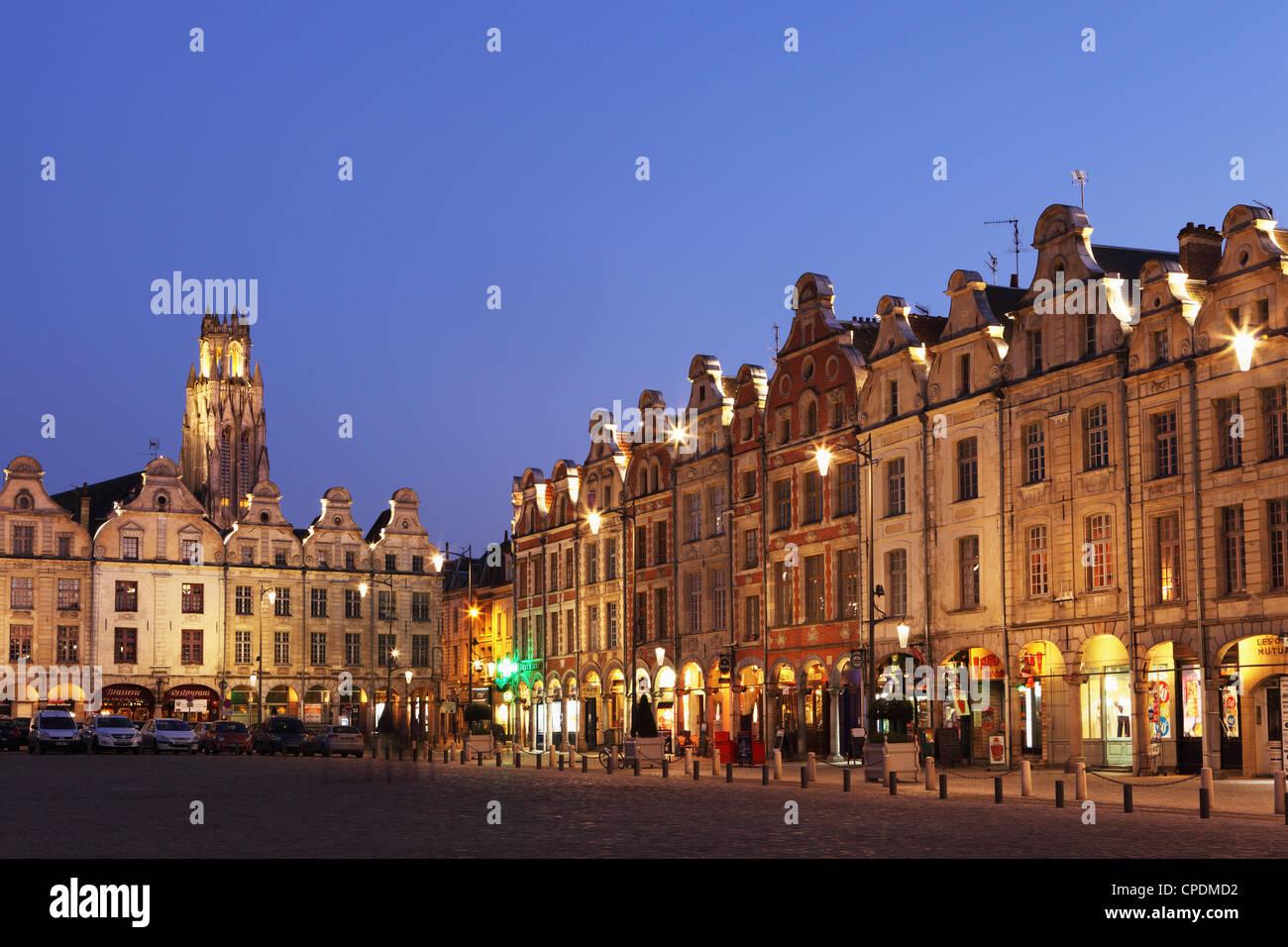 Flemish Baroque architecture at night on the Petite Place (Place des Heros), Arras, Nord-Pas de Calais, France, - Stock Image