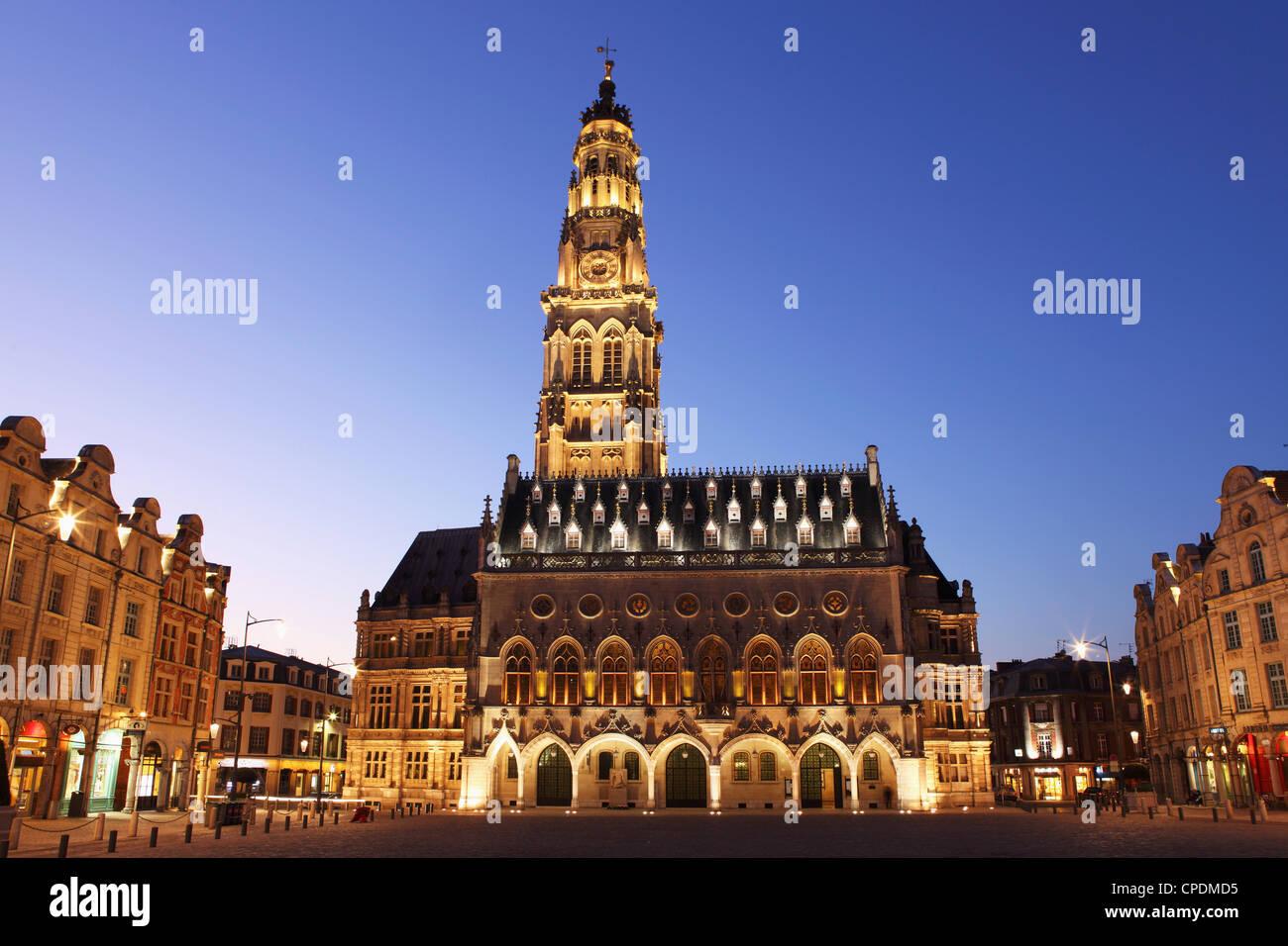 Gothic Town Hall (Hotel de Ville) and Belfry tower, Petite Place (Place des Heros), Arras, Nord-Pas de Calais, France, - Stock Image