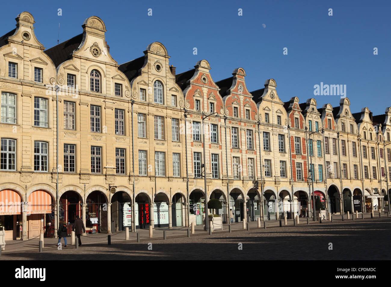 Flemish Baroque facades at the cobbled Petite Place (Place des Heros), Arras, Nord-Pas de Calais, France, Europe - Stock Image