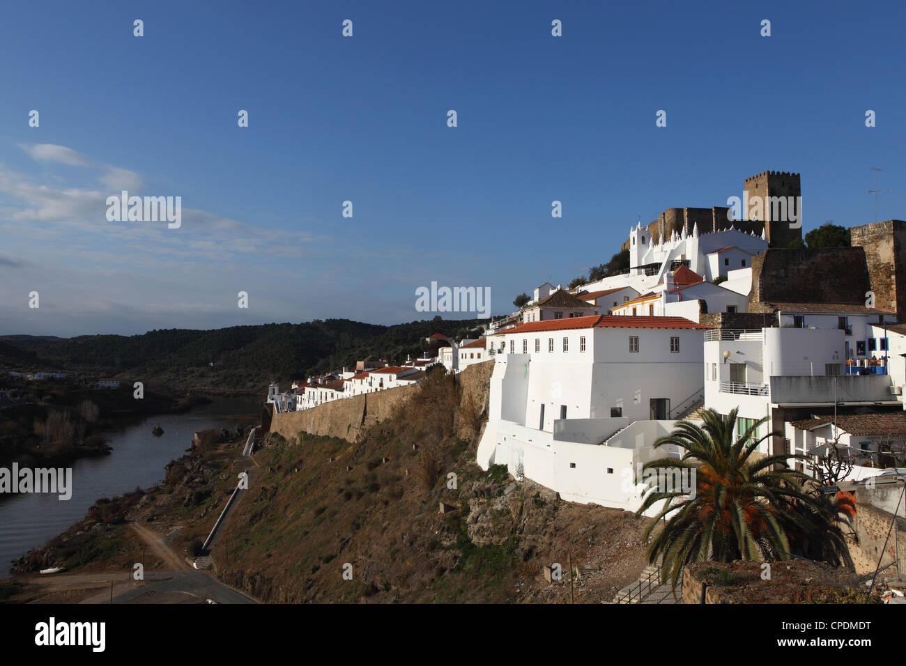 The 13th century castle, Guadiana River, Mertola, Alentejo, Portugal - Stock Image