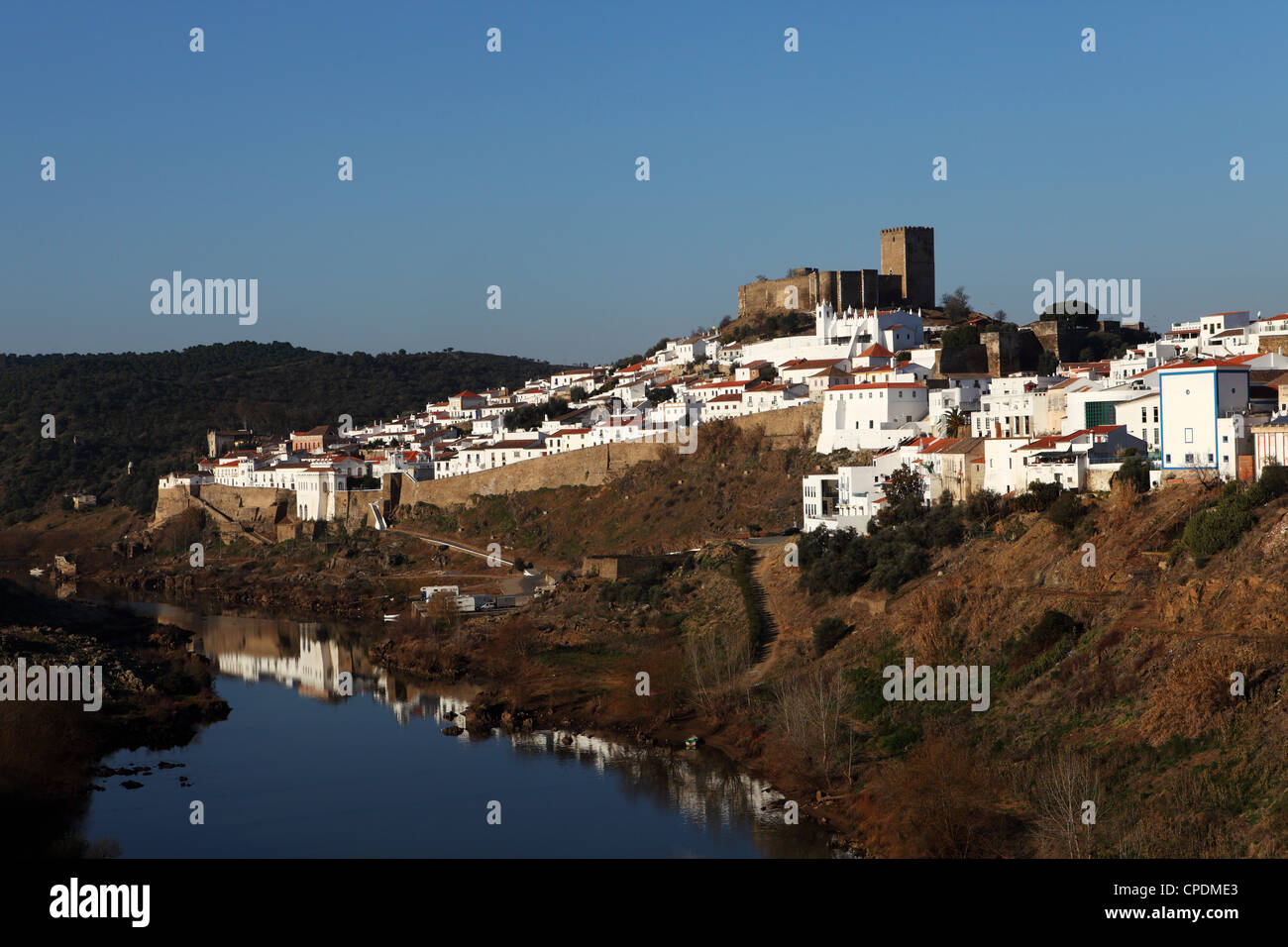Mertola, which has a long Islamic history, by the Guadiana River, Alentejo, Portugal - Stock Image