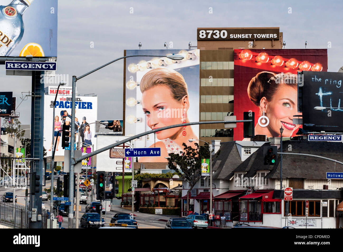 Sunset Boulevard - Giant advertising billboards over the street, Los Angeles, California, USA - Stock Image